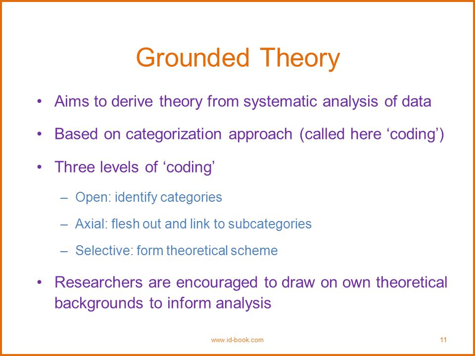 Grounded Theory Aims to derive theory from systematic analysis of data Based on categorization approach (called here 'coding') Three levels of 'coding