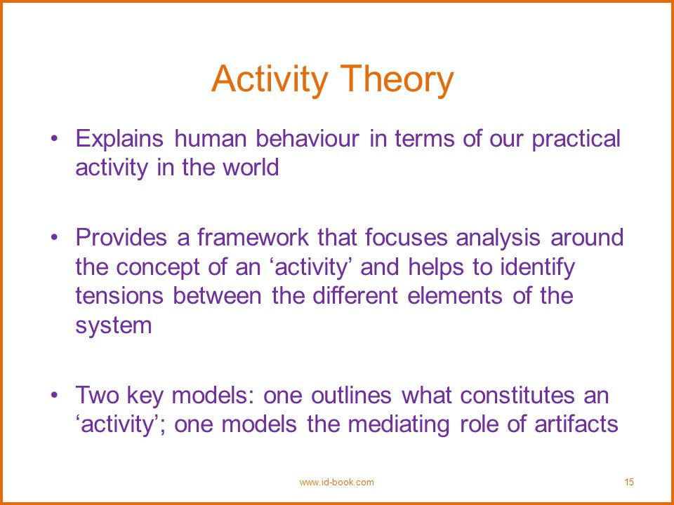 Activity Theory Explains human behaviour in terms of our practical activity in the world Provides a framework that focuses analysis around the concept