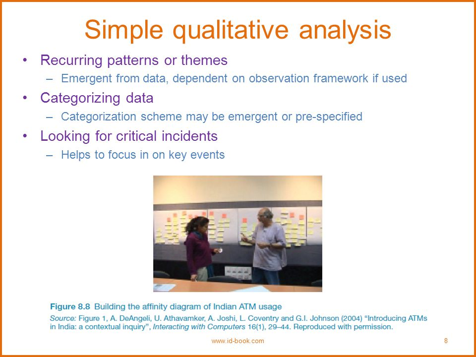 Simple qualitative analysis Recurring patterns or themes –Emergent from data, dependent on observation framework if used Categorizing data –Categoriza