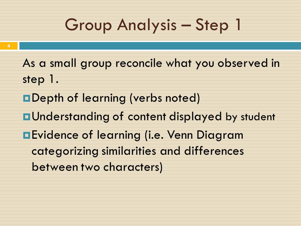Group Analysis – Step 1 4 As a small group reconcile what you observed in step 1.  Depth of learning (verbs noted)  Understanding of content display