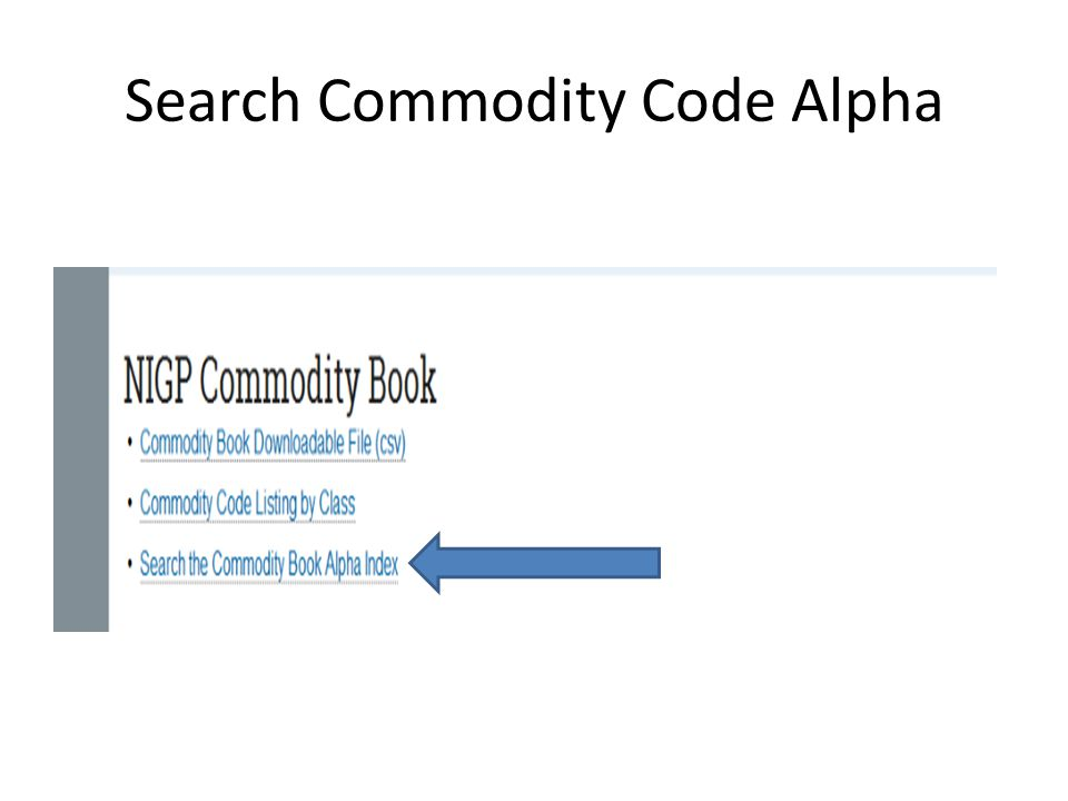 Search Commodity Code Alpha