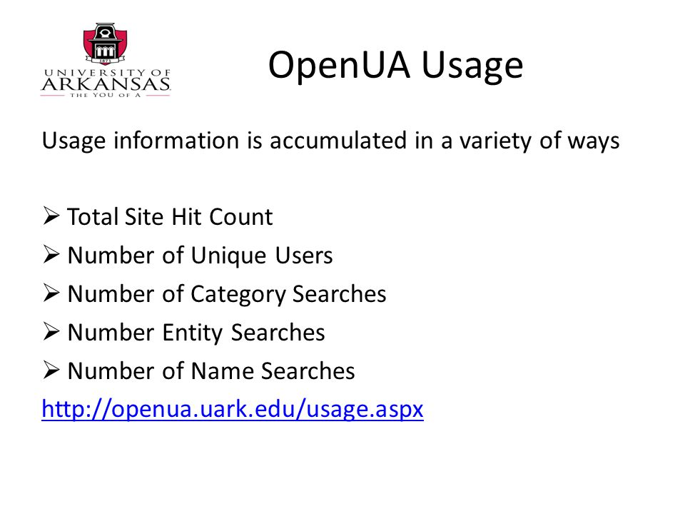 OpenUA Usage Usage information is accumulated in a variety of ways  Total Site Hit Count  Number of Unique Users  Number of Category Searches  Number Entity Searches  Number of Name Searches http://openua.uark.edu/usage.aspx