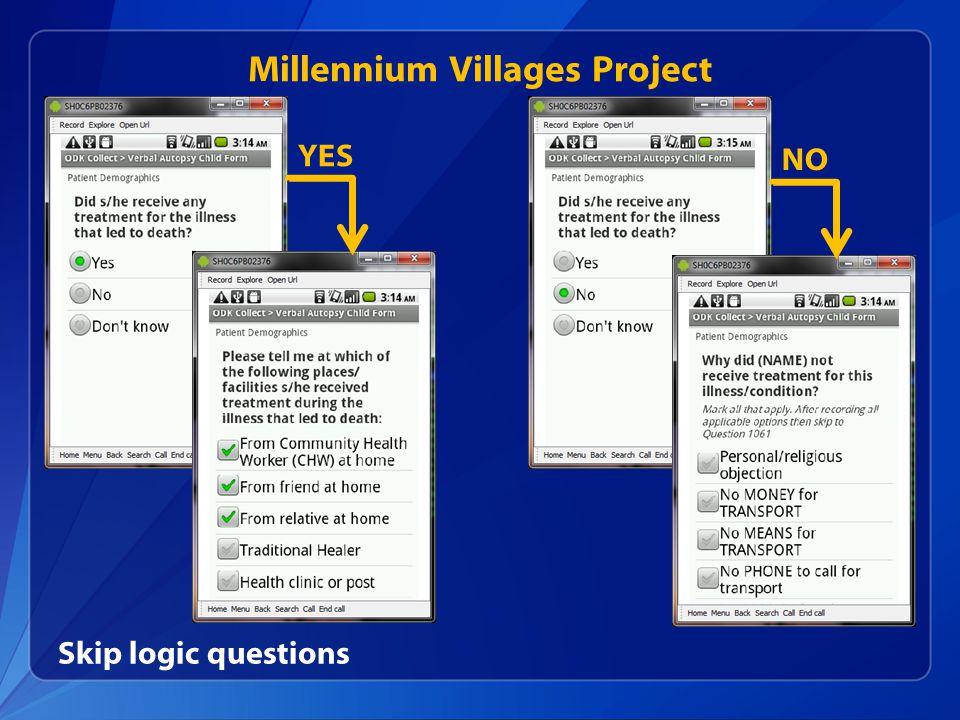 Millennium Villages Project Skip logic questions YES NO