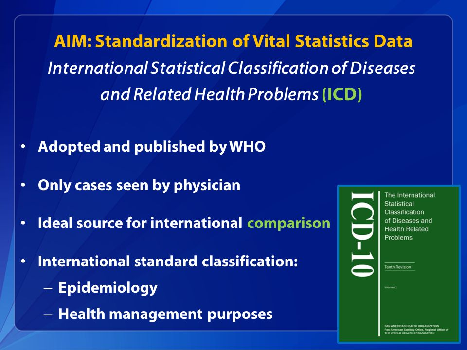 AIM: Standardization of Vital Statistics Data International Statistical Classification of Diseases and Related Health Problems (ICD) Adopted and published by WHO Only cases seen by physician Ideal source for international comparison International standard classification: – Epidemiology – Health management purposes