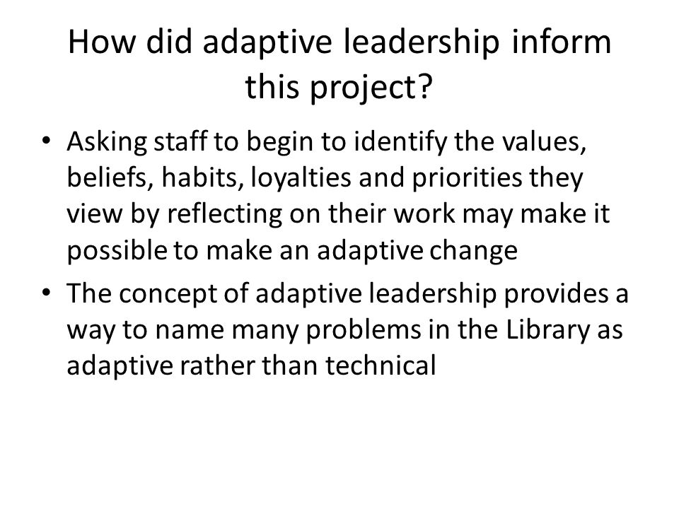 How did adaptive leadership inform this project.