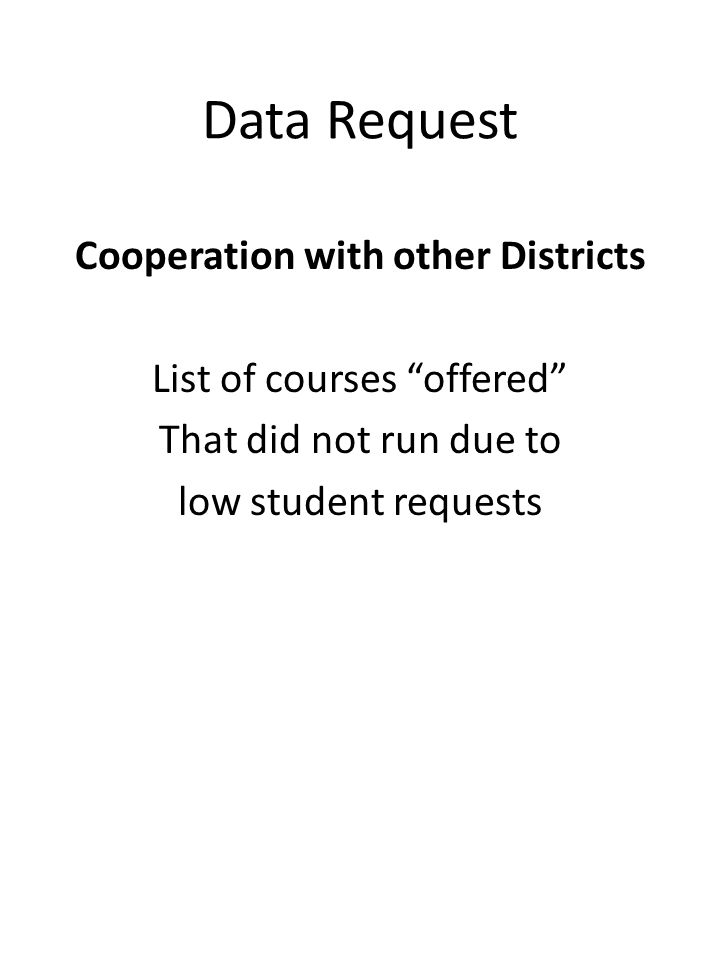 """Data Request Cooperation with other Districts List of courses """"offered"""" That did not run due to low student requests"""