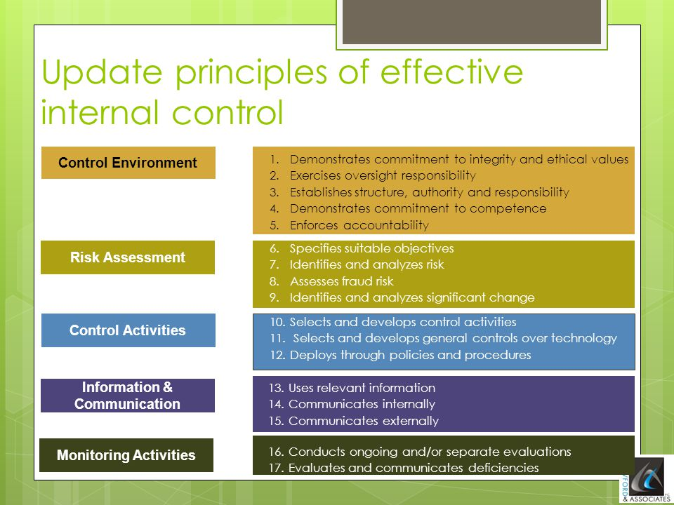 Control Environment Risk Assessment Control Activities Information & Communication Monitoring Activities Update principles of effective internal contr