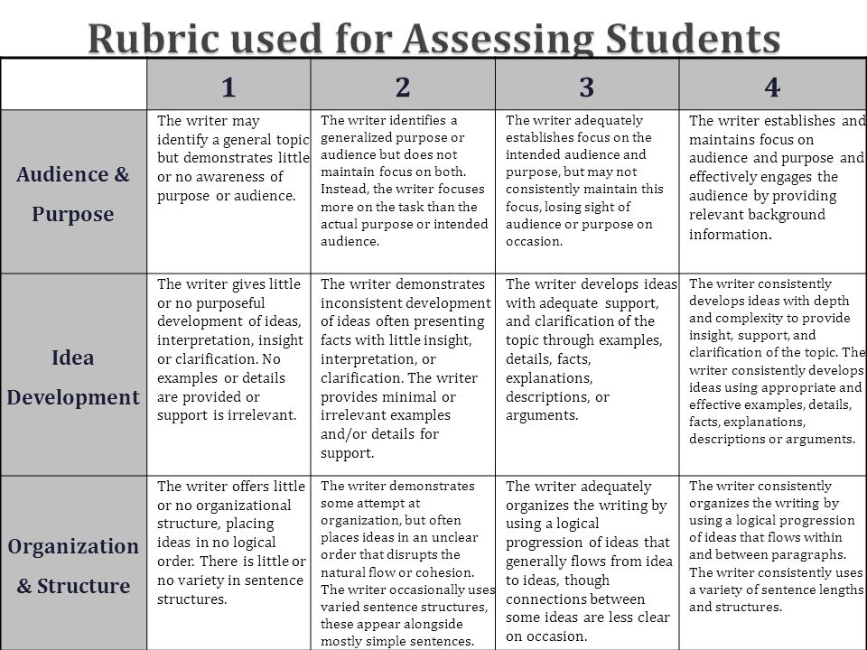 Rubric used for Assessing Students 1234 Audience & Purpose The writer may identify a general topic but demonstrates little or no awareness of purpose or audience.