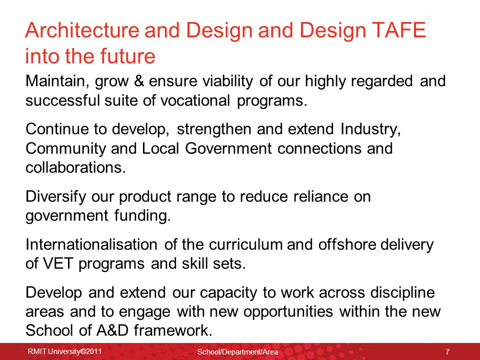 Architecture and Design and Design TAFE into the future Maintain, grow & ensure viability of our highly regarded and successful suite of vocational programs.