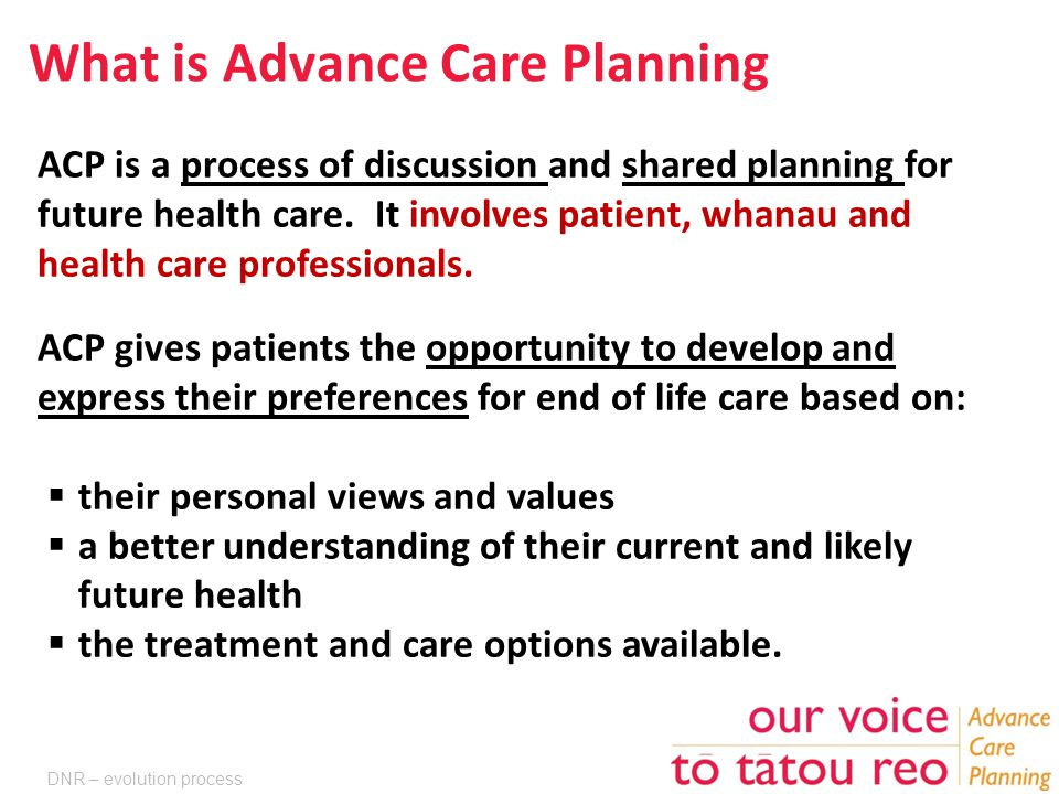 What is Advance Care Planning ACP is a process of discussion and shared planning for future health care.