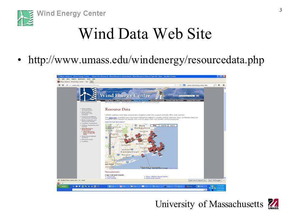 Wind Energy Center University of Massachusetts Wind Data Web Site http://www.umass.edu/windenergy/resourcedata.php 3