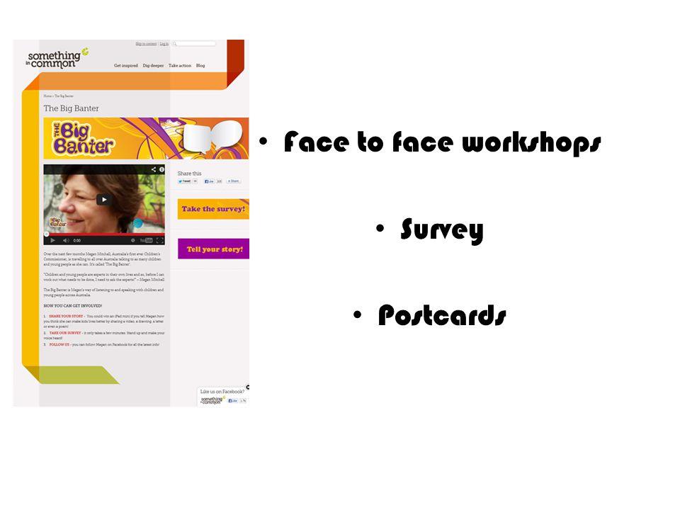 Face to face workshops Survey Postcards