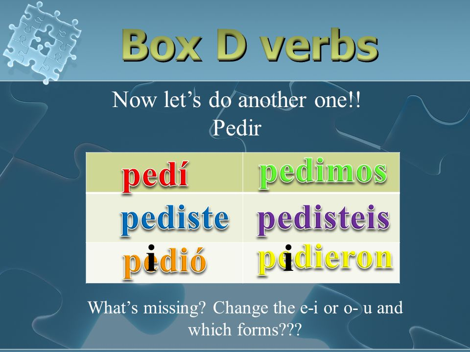 Lets conjugate a box D verb!! Dormir What's missing? Do I change the o-u or e-i and which forms have the change??? uu