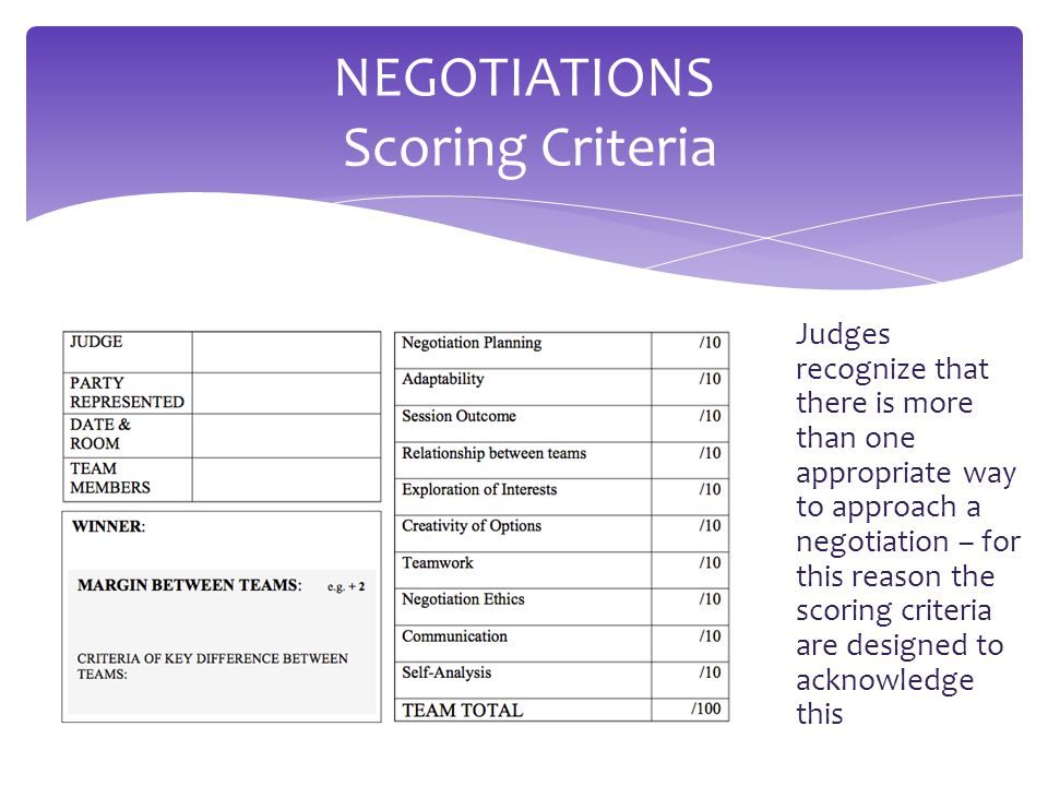  Judges recognize that there is more than one appropriate way to approach a negotiation – for this reason the scoring criteria are designed to acknowledge this NEGOTIATIONS Scoring Criteria