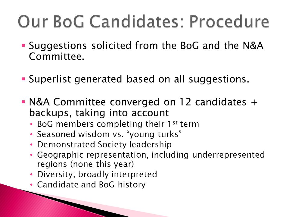  Suggestions solicited from the BoG and the N&A Committee.