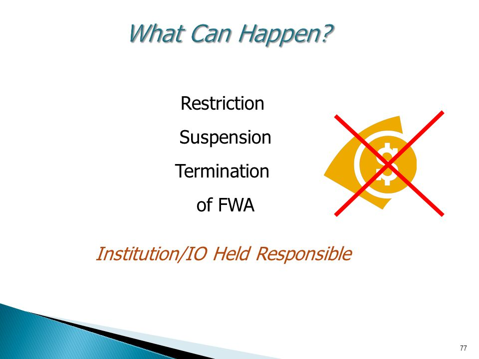 Restriction Suspension Termination of FWA Institution/IO Held Responsible 77