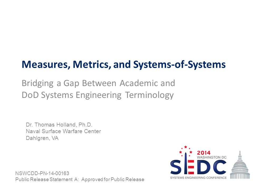 Measures, Metrics, and Systems-of-Systems Bridging a Gap Between Academic and DoD Systems Engineering Terminology Dr.