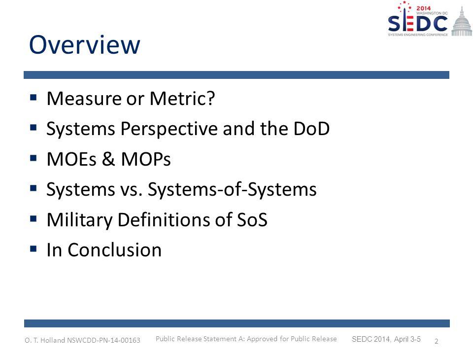 O.T. Holland NSWCDD-PN-14-00163 SEDC 2014, April 3-5 Systems vs.