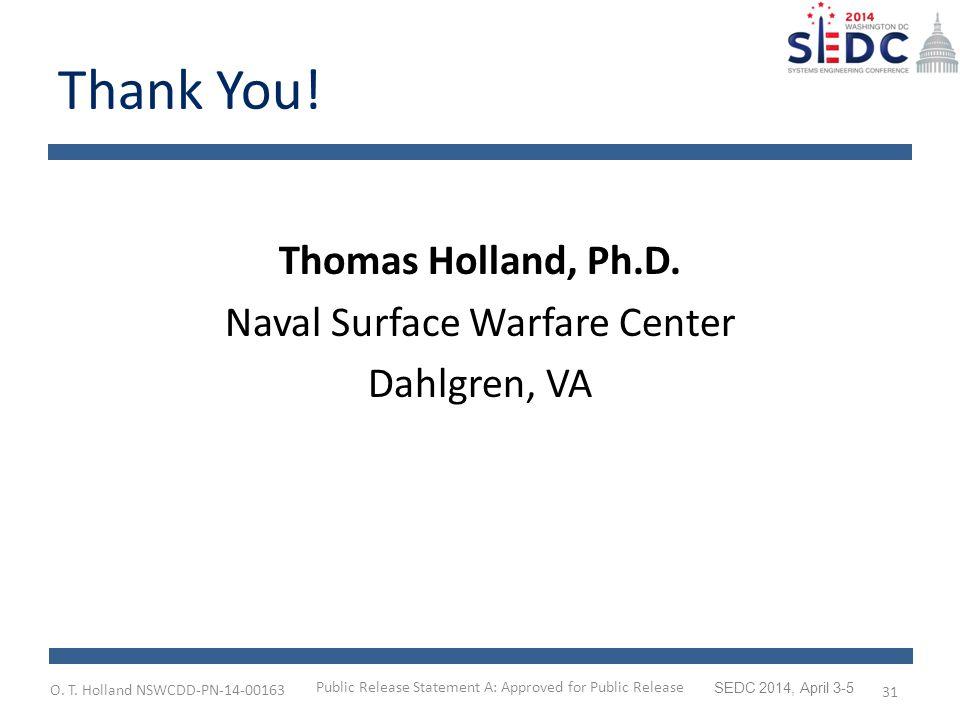 O. T. Holland NSWCDD-PN-14-00163 SEDC 2014, April 3-5 Thank You.