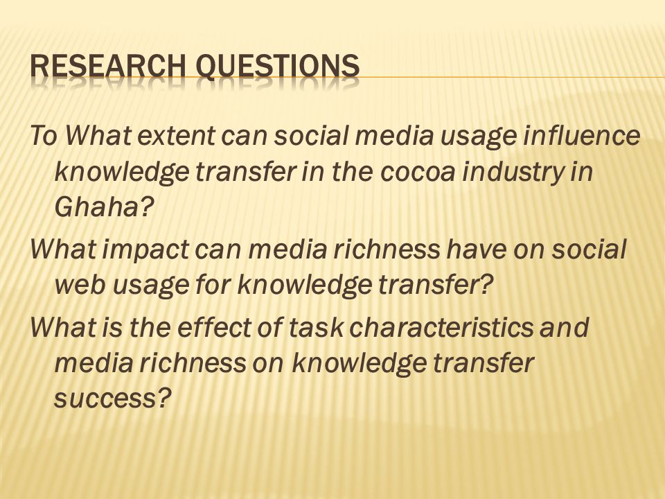 To What extent can social media usage influence knowledge transfer in the cocoa industry in Ghaha.