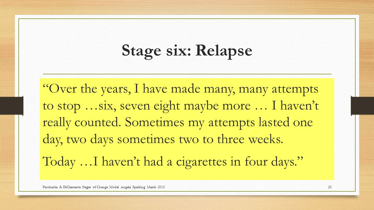 Stage six: Relapse Over the years, I have made many, many attempts to stop …six, seven eight maybe more … I haven't really counted.
