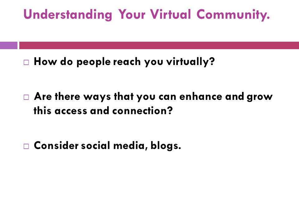 Understanding Your Virtual Community. How do people reach you virtually.