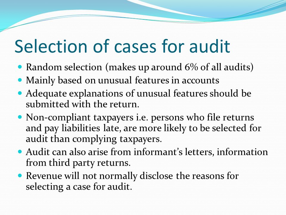 Notification of Revenue Audit 14 days notice given in a majority of cases.