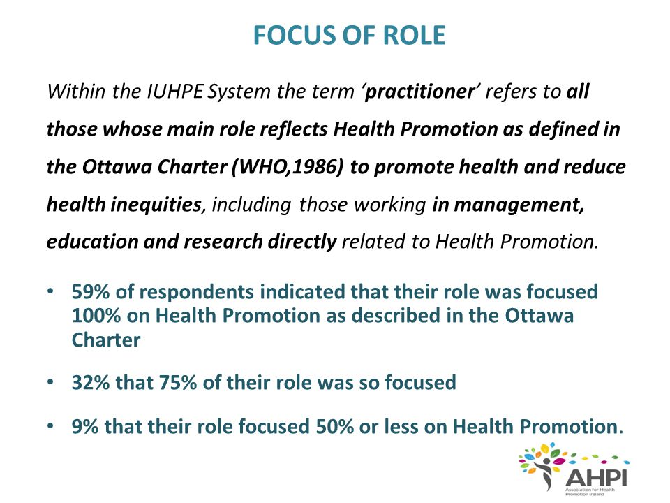 EDUCATIONAL AND EXPERIENCE CRITERIA 1.Graduates or postgraduates of a Health Promotion course accredited within the IUHPE Accreditation System 2.