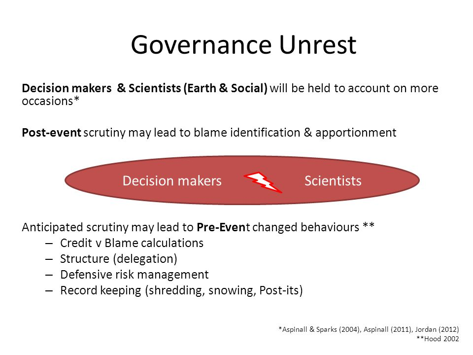 Governance Unrest Decision makers & Scientists (Earth & Social) will be held to account on more occasions* Post-event scrutiny may lead to blame identification & apportionment Anticipated scrutiny may lead to Pre-Event changed behaviours ** – Credit v Blame calculations – Structure (delegation) – Defensive risk management – Record keeping (shredding, snowing, Post-its) *Aspinall & Sparks (2004), Aspinall (2011), Jordan (2012) **Hood 2002 10 Decision makers Scientists