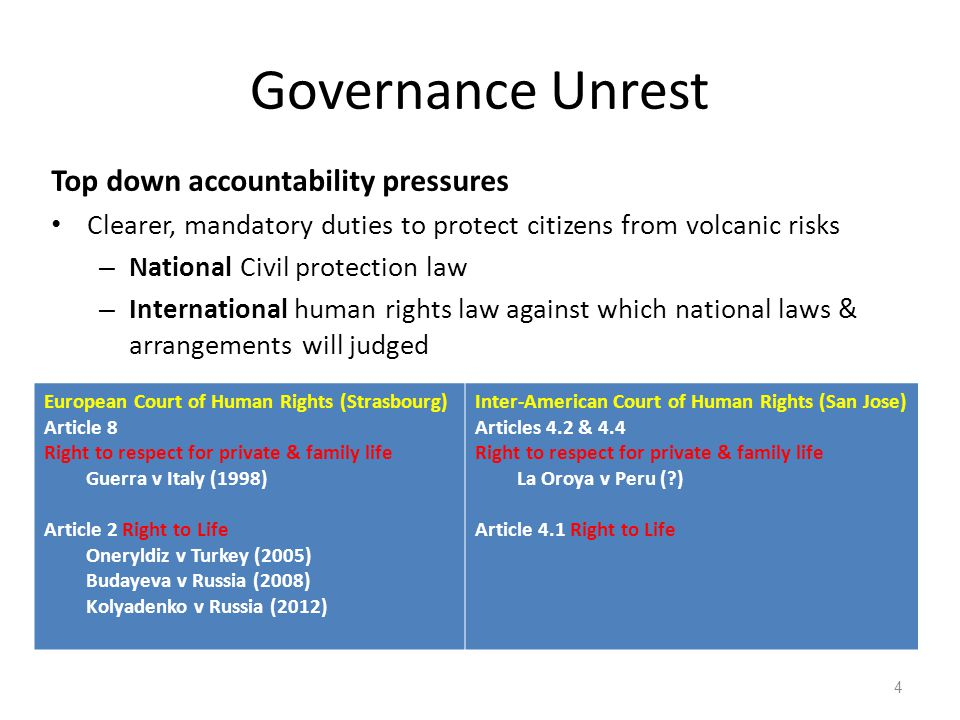 Governance Unrest Top down accountability pressures Clearer, mandatory duties to protect citizens from volcanic risks – National Civil protection law – International human rights law against which national laws & arrangements will judged 4 European Court of Human Rights (Strasbourg) Article 8 Right to respect for private & family life Guerra v Italy (1998) Article 2 Right to Life Oneryldiz v Turkey (2005) Budayeva v Russia (2008) Kolyadenko v Russia (2012) Inter-American Court of Human Rights (San Jose) Articles 4.2 & 4.4 Right to respect for private & family life La Oroya v Peru ( ) Article 4.1 Right to Life