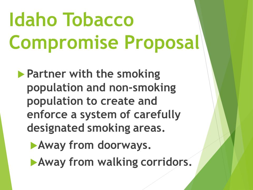 Let's Vote: Idaho Tobacco Compromise Proposal - Students & Full Faculty  Proposal:  An advisory ASUI referendum/Full Faculty vote with two propositions of the ballot in the Spring semester that is well advertised:  1) Tobacco Task Force Proposition  2) Idaho Tobacco Compromise proposal for designated smoking areas on campus.