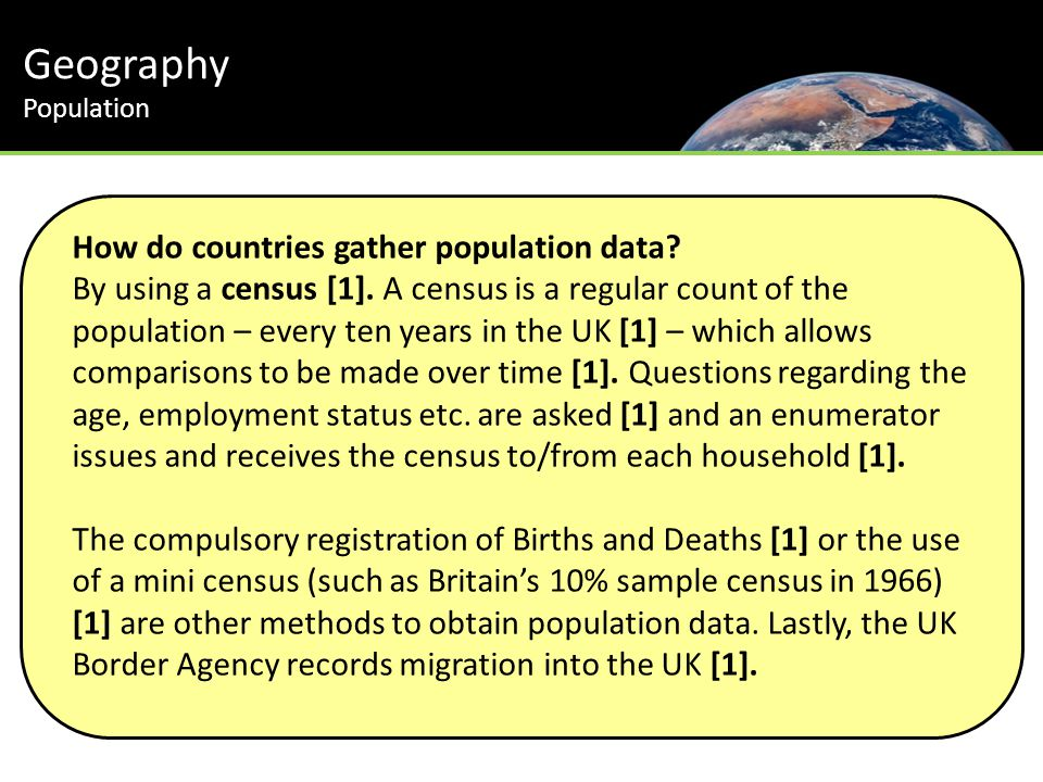 Geography Population How do countries gather population data.