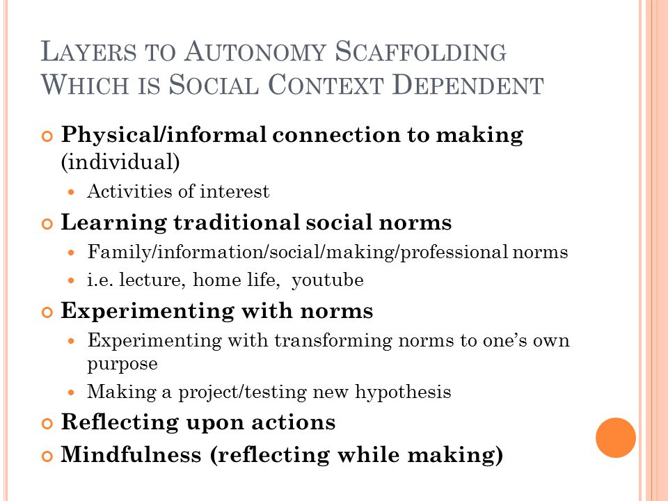 L AYERS TO A UTONOMY S CAFFOLDING W HICH IS S OCIAL C ONTEXT D EPENDENT Physical/informal connection to making (individual) Activities of interest Lea