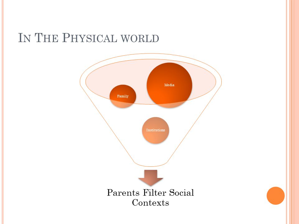 I N T HE P HYSICAL WORLD Parents Filter Social Contexts Institutions Family Media
