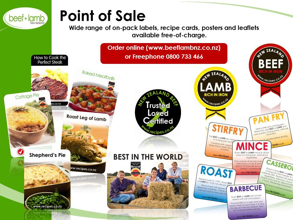Wide range of on-pack labels, recipe cards, posters and leaflets available free-of-charge.