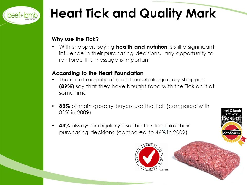 Heart Tick and Quality Mark Why use the Tick.