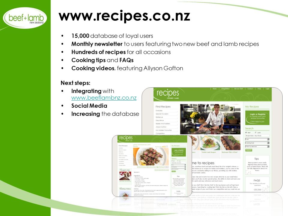 www.recipes.co.nz 15,000 database of loyal users Monthly newsletter to users featuring two new beef and lamb recipes Hundreds of recipes for all occasions Cooking tips and FAQs Cooking videos, featuring Allyson Gofton Next steps: Integrating with www.beeflambnz.co.nz www.beeflambnz.co.nz Social Media Increasing the database