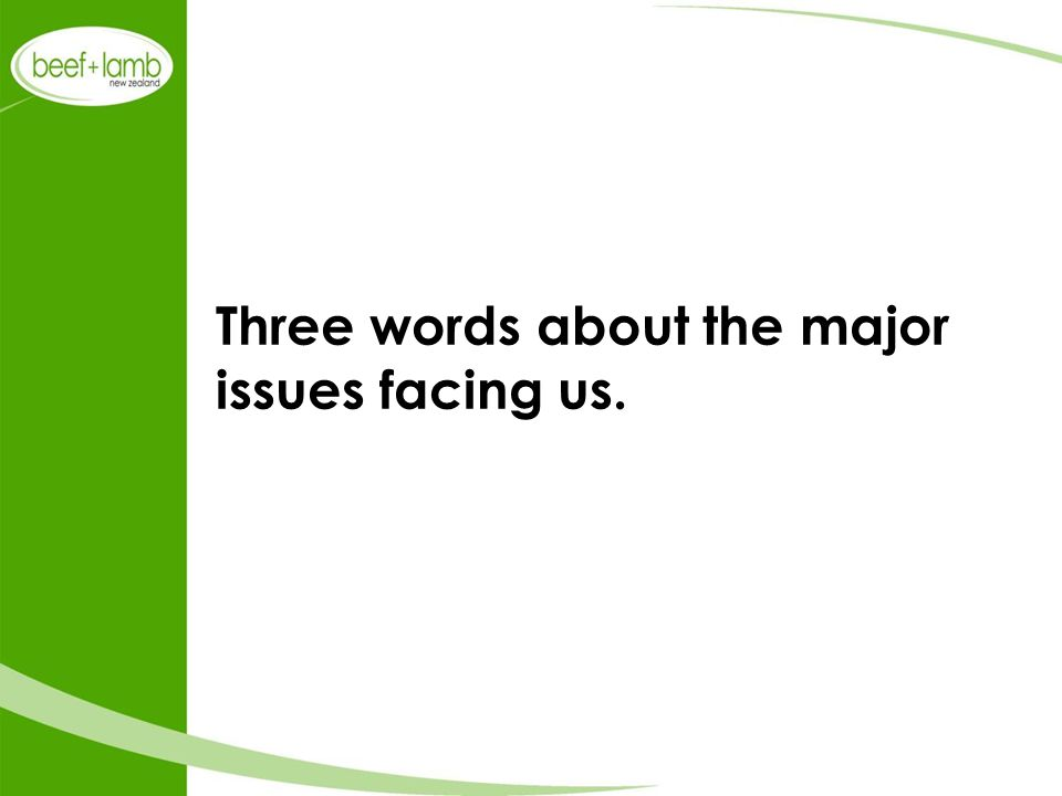 Three words about the major issues facing us.