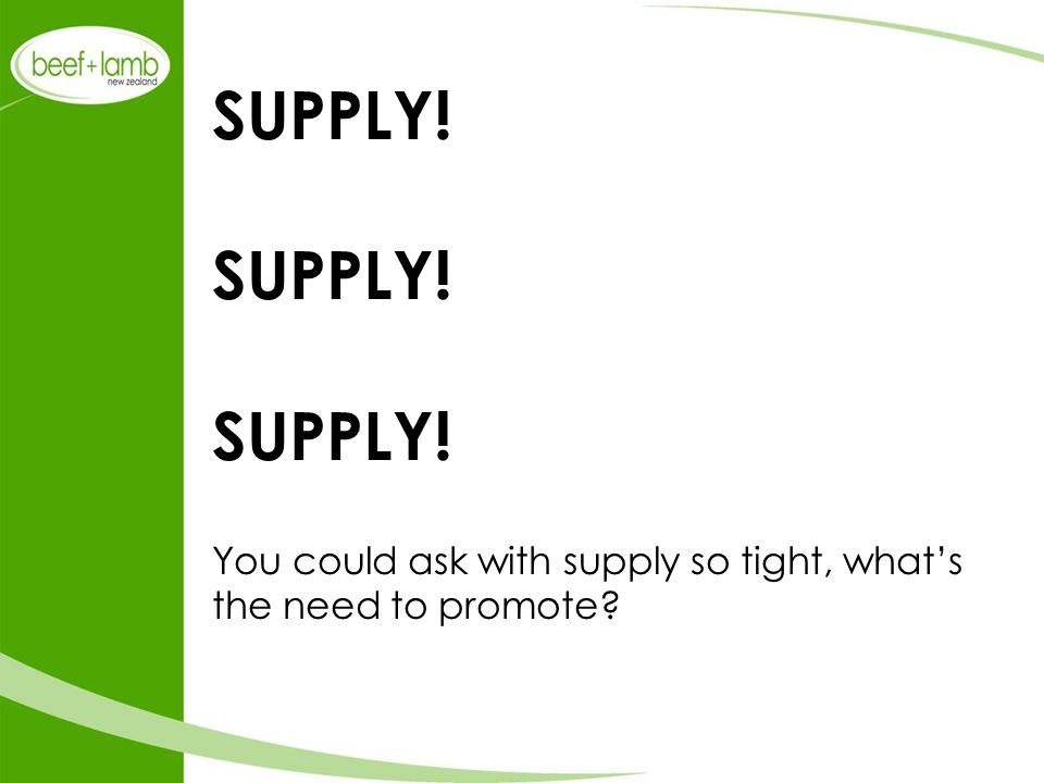SUPPLY! SUPPLY! SUPPLY! You could ask with supply so tight, what's the need to promote?