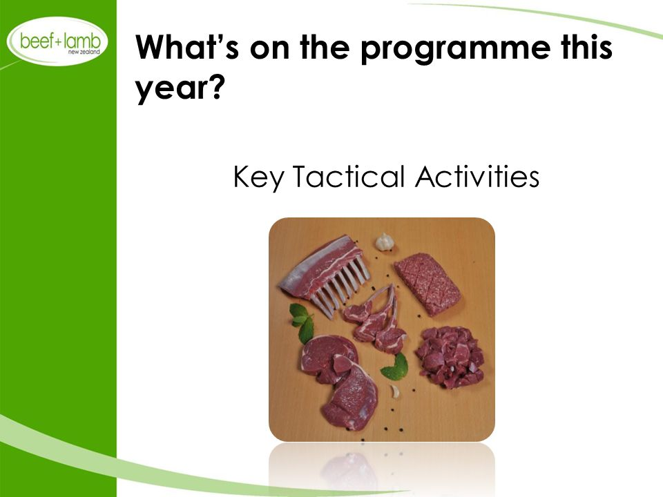 What's on the programme this year? Key Tactical Activities