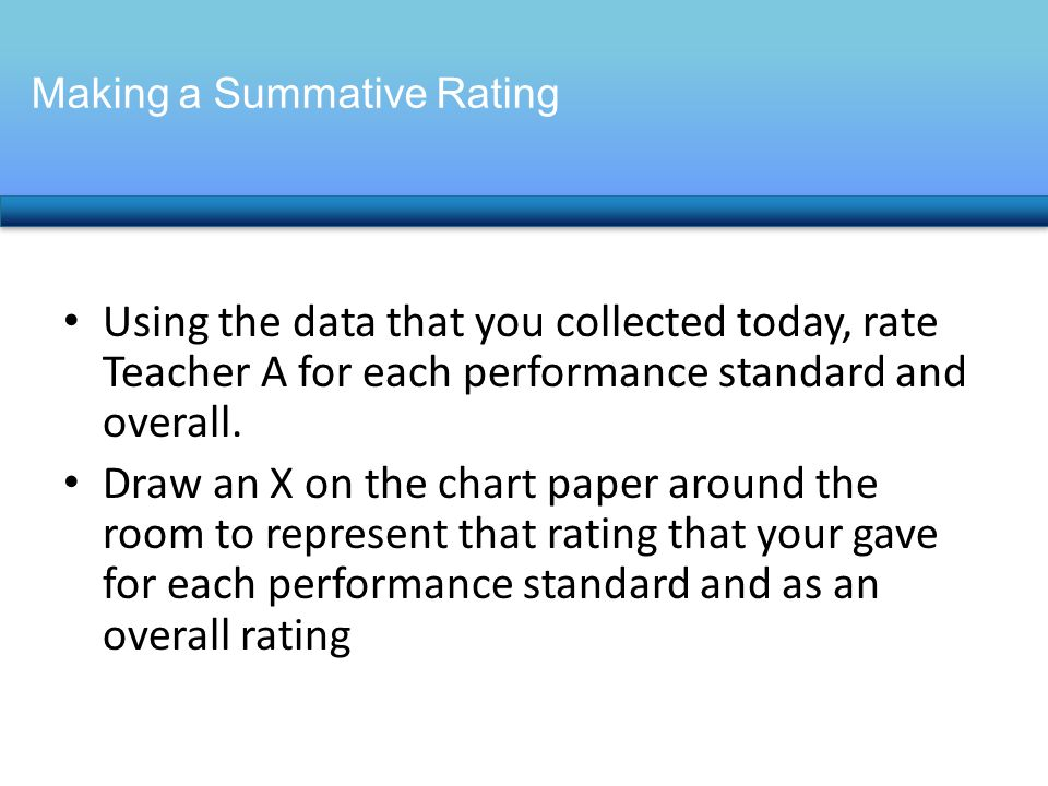 Using the data that you collected today, rate Teacher A for each performance standard and overall.