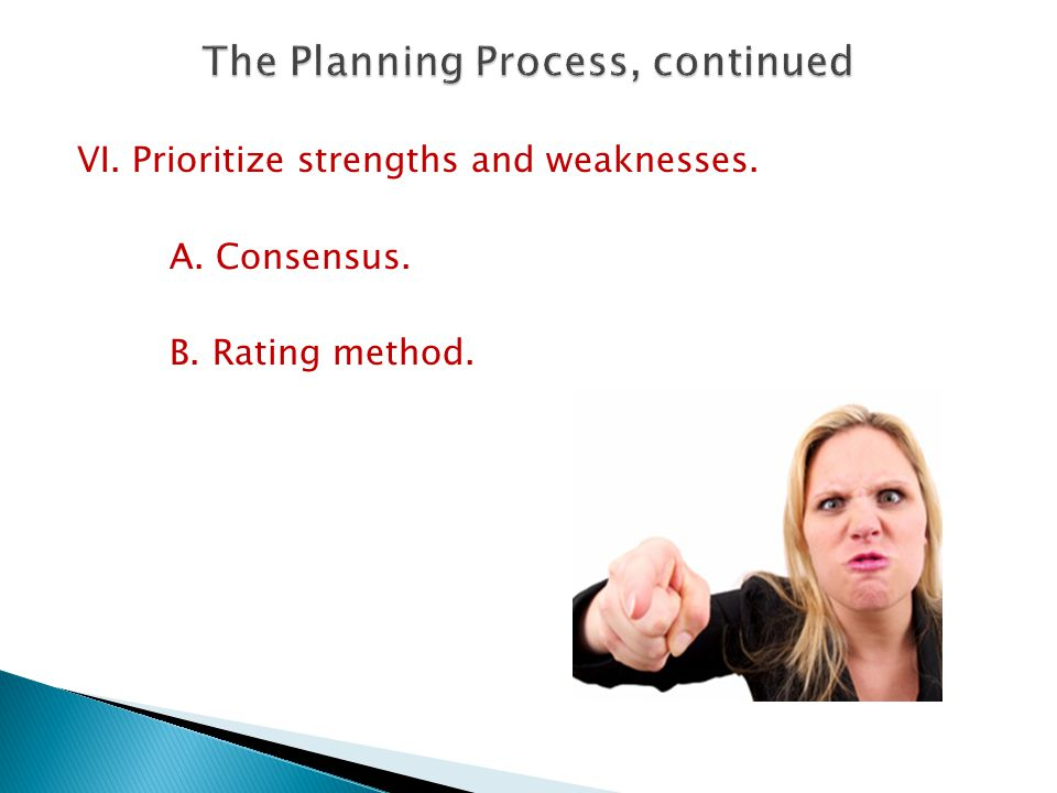 VI. Prioritize strengths and weaknesses. A. Consensus. B. Rating method.