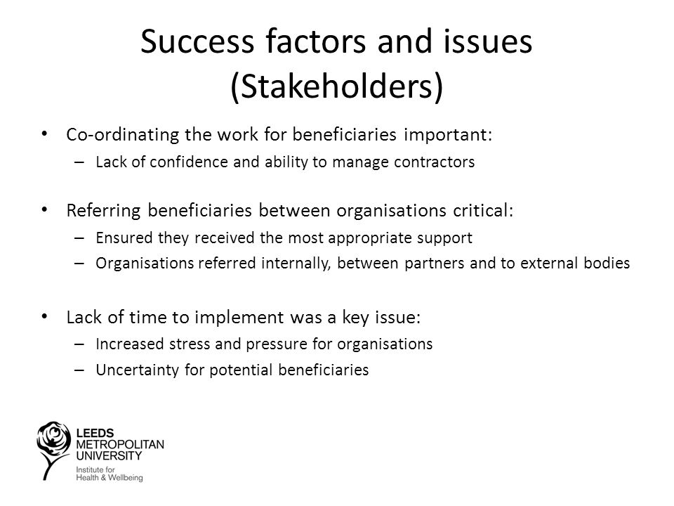 Success factors and issues (Stakeholders) Co-ordinating the work for beneficiaries important: – Lack of confidence and ability to manage contractors Referring beneficiaries between organisations critical: – Ensured they received the most appropriate support – Organisations referred internally, between partners and to external bodies Lack of time to implement was a key issue: – Increased stress and pressure for organisations – Uncertainty for potential beneficiaries