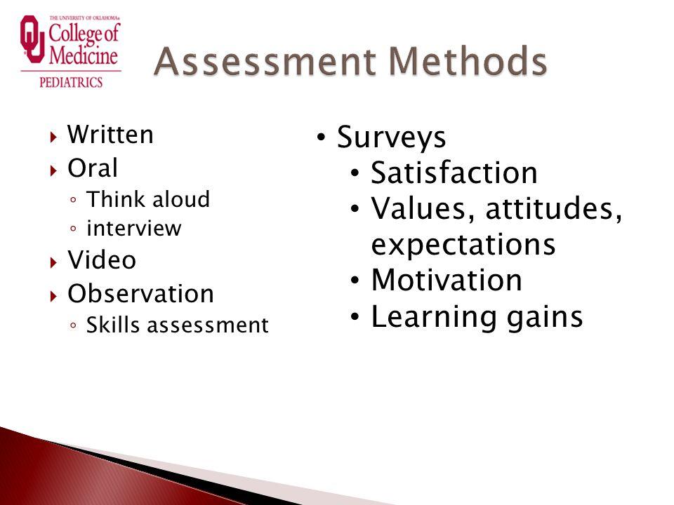  Written  Oral ◦ Think aloud ◦ interview  Video  Observation ◦ Skills assessment Surveys Satisfaction Values, attitudes, expectations Motivation L