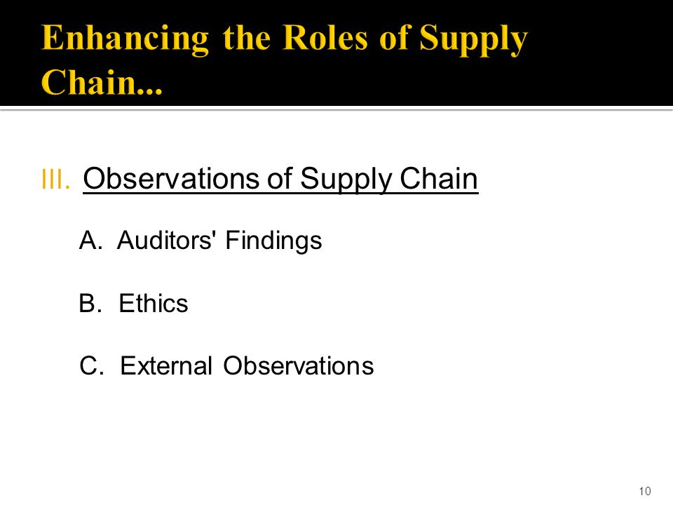 10 III. Observations of Supply Chain A. Auditors' Findings B. Ethics C. External Observations