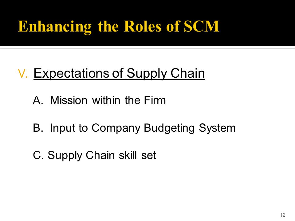 12 V. Expectations of Supply Chain A. Mission within the Firm B. Input to Company Budgeting System C. Supply Chain skill set