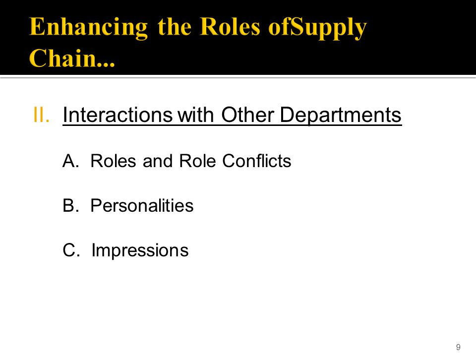 9 II.Interactions with Other Departments A. Roles and Role Conflicts B. Personalities C. Impressions