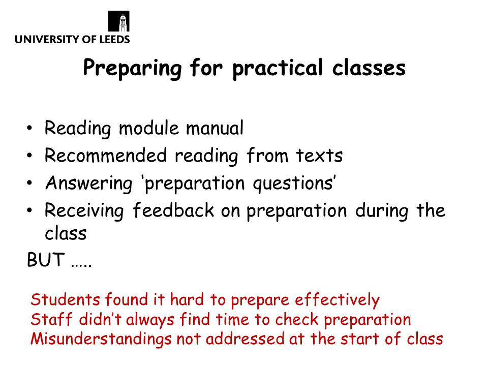 Preparing for practical classes Reading module manual Recommended reading from texts Answering 'preparation questions' Receiving feedback on preparation during the class BUT …..