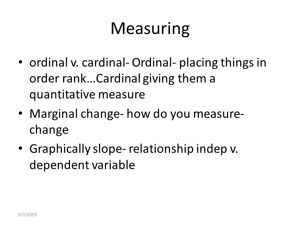 9/3/2009 Measuring ordinal v.