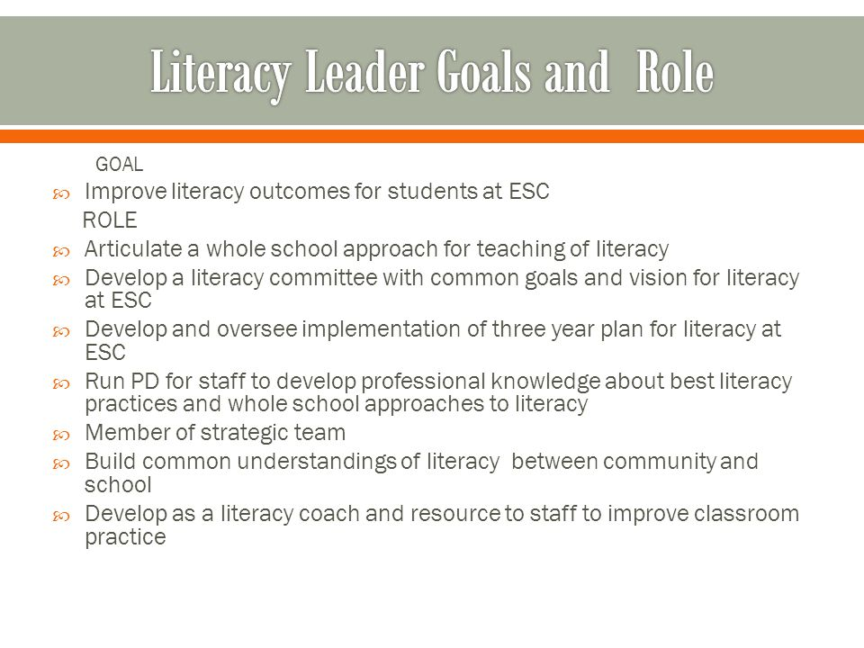 GOAL  Improve literacy outcomes for students at ESC ROLE  Articulate a whole school approach for teaching of literacy  Develop a literacy committee with common goals and vision for literacy at ESC  Develop and oversee implementation of three year plan for literacy at ESC  Run PD for staff to develop professional knowledge about best literacy practices and whole school approaches to literacy  Member of strategic team  Build common understandings of literacy between community and school  Develop as a literacy coach and resource to staff to improve classroom practice